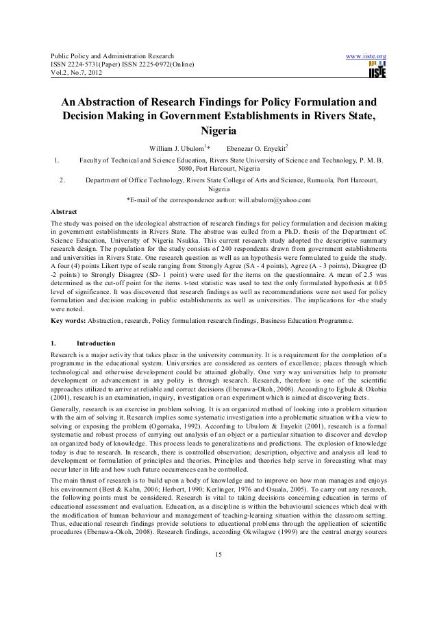 Public Policy and Administration Research                                                               www.iiste.orgISSN ...
