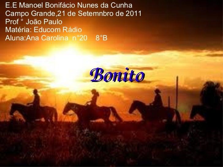 E.E Manoel Bonifácio Nunes da Cunha Campo Grande,21 de Setemnbro de 2011 Prof ° João Paulo Matéria: Educom Rádio Aluna:Ana...