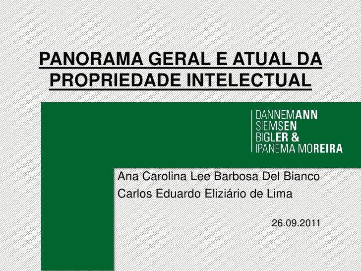 PANORAMA GERAL E ATUAL DA PROPRIEDADE INTELECTUAL<br />Ana Carolina Lee Barbosa Del Bianco<br />Carlos Eduardo Eliziário d...