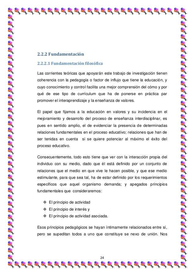 2.2.2 Fundamentación2.2.2.1 Fundamentación filosóficaLas corrientes teóricas que apoyarán este trabajo de investigación ti...