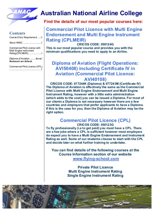 Australian National Airline College Anac Course Brochure
