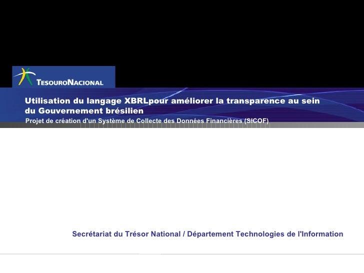 Utilisation du langage XBRLpour améliorer la transparence au sein du Gouvernement brésilien Projet de création d'un Systèm...