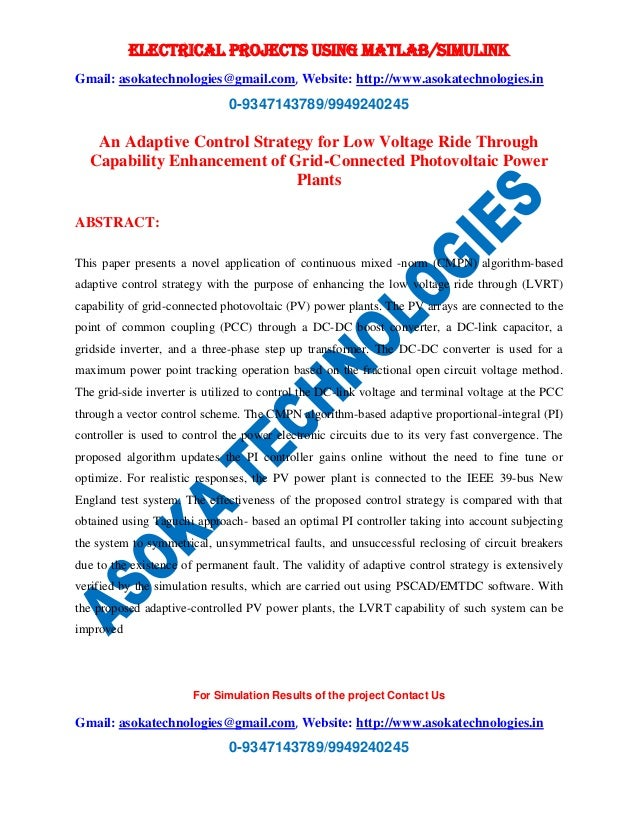 ELECTRICAL PROJECTS USING MATLAB/SIMULINK Gmail: asokatechnologies@gmail.com, Website: http://www.asokatechnologies.in 0-9...