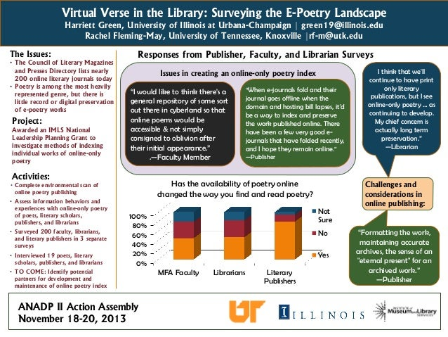 Virtual Verse in the Library: Surveying the E-Poetry Landscape Harriett Green, University of Illinois at Urbana-Champaign ...