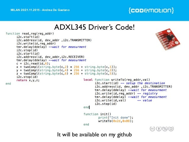MILAN 20/21.11.2015 - Andrea De Gaetano ADXL345 Driver's Code! It will be available on my github