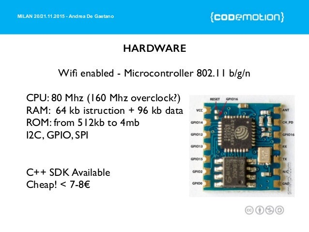 MILAN 20/21.11.2015 - Andrea De Gaetano HARDWARE Wifi enabled - Microcontroller 802.11 b/g/n CPU: 80 Mhz (160 Mhz overclock...