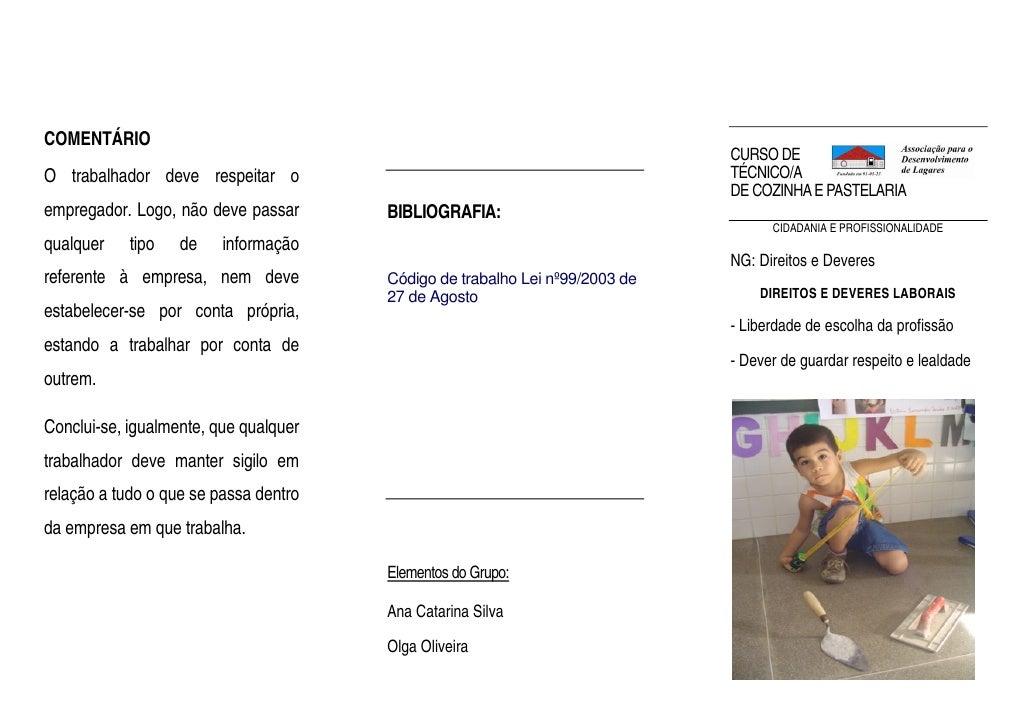 COMENTÁRIO                                                                              CURSO DE                          ...