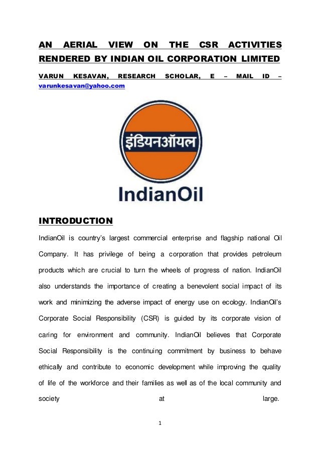 AN AERIAL VIEW ON THE CSR ACTIVITIES RENDERED BY INDIAN OIL