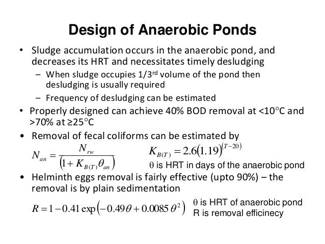 Anaerobic ponds for Design of anaerobic pond