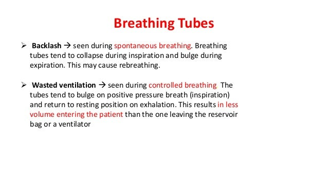 Breathing Tubes  Backlash  seen during spontaneous breathing. Breathing tubes tend to collapse during inspiration and bu...
