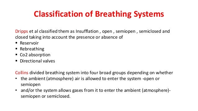 Classification of Breathing Systems Dripps et al classified them as Insufflation , open , semiopen , semiclosed and closed...