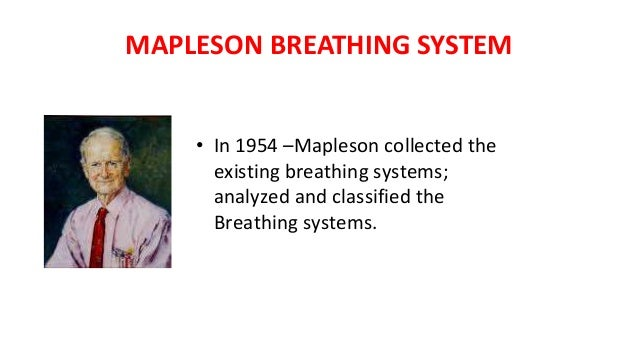 MAPLESON BREATHING SYSTEM • In 1954 –Mapleson collected the existing breathing systems; analyzed and classified the Breath...