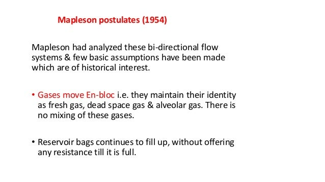 Mapleson postulates (1954) Mapleson had analyzed these bi-directional flow systems & few basic assumptions have been made ...