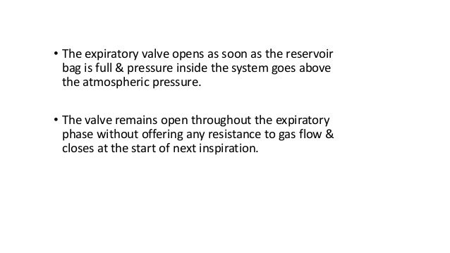• The expiratory valve opens as soon as the reservoir bag is full & pressure inside the system goes above the atmospheric ...