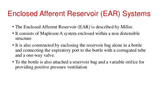 Enclosed Afferent Reservoir (EAR) Systems • The Enclosed Afferent Reservoir (EAR) is described by Miller. • It consists of...