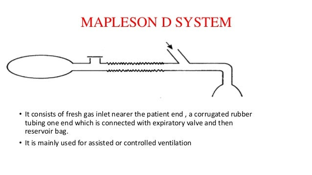MAPLESON D SYSTEM • It consists of fresh gas inlet nearer the patient end , a corrugated rubber tubing one end which is co...