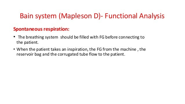 Bain system (Mapleson D)- Functional Analysis Spontaneous respiration: • The breathing system should be filled with FG bef...