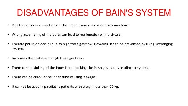 DISADVANTAGES OF BAIN'S SYSTEM • Due to multiple connections in the circuit there is a risk of disconnections. • Wrong ass...