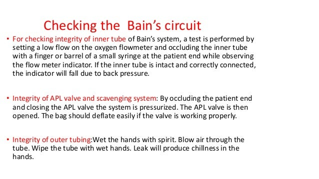 Checking the Bain's circuit • For checking integrity of inner tube of Bain's system, a test is performed by setting a low ...