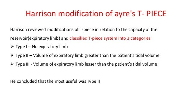 Harrison modification of ayre's T- PIECE Harrison reviewed modifications of T-piece in relation to the capacity of the res...