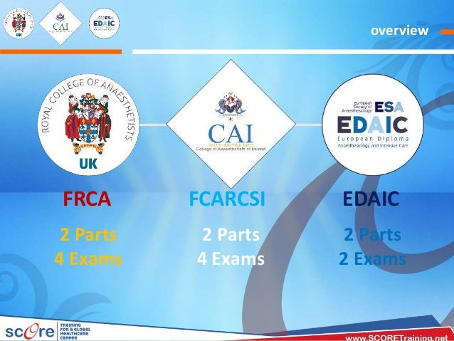 Anaesthesia International Certificates FRCA, MCAI & EDAIC -Orientation Slide 3