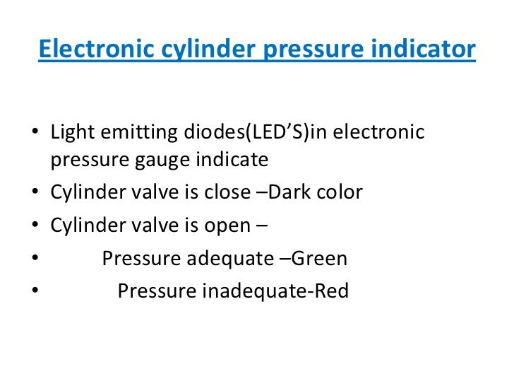 Electronic cylinder pressure indicator<br />Light emitting diodes(LED'S)in electronic pressure gauge indicate<br />Cylinde...