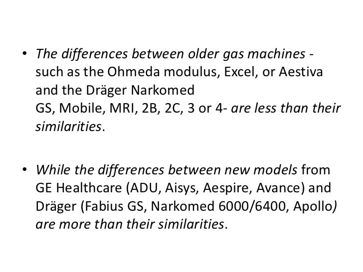 The differences between older gas machines -such as the Ohmeda modulus, Excel, or Aestiva and the DrägerNarkomed GS, Mobil...