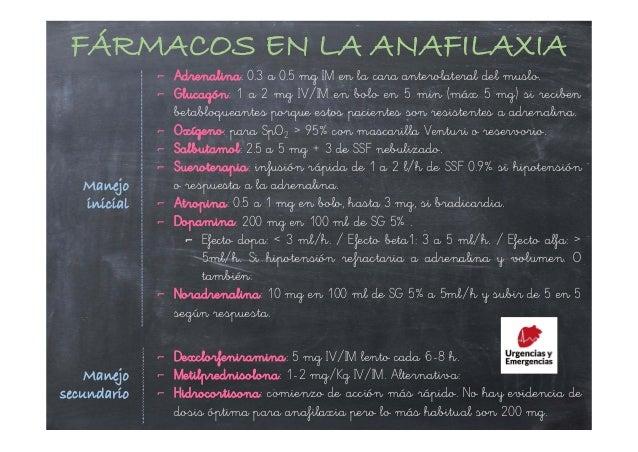 ⌐ Adrenalina: 0.3 a 0.5 mg IM en la cara anterolateral del muslo. ⌐ Glucagón: 1 a 2 mg IV/IM en bolo en 5 min (máx 5 mg) s...
