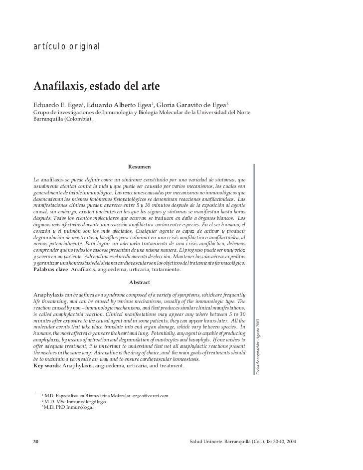 artículo originalAnafilaxis, estado del arteEduardo E. Egea1, Eduardo Alberto Egea2, Gloria Garavito de Egea3Grupo de inve...