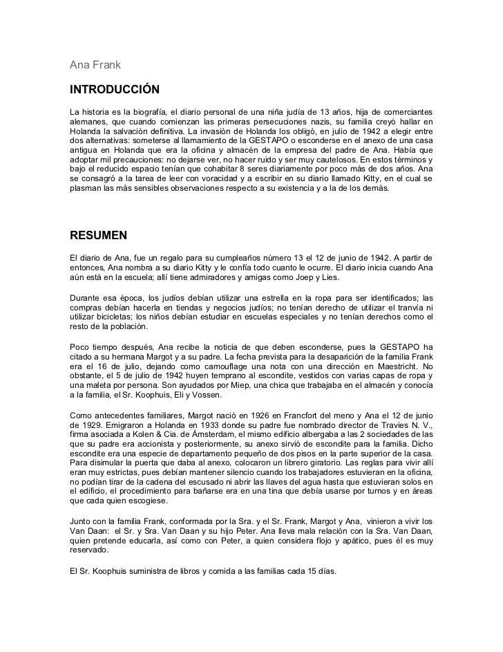 Ana Frank Resumen