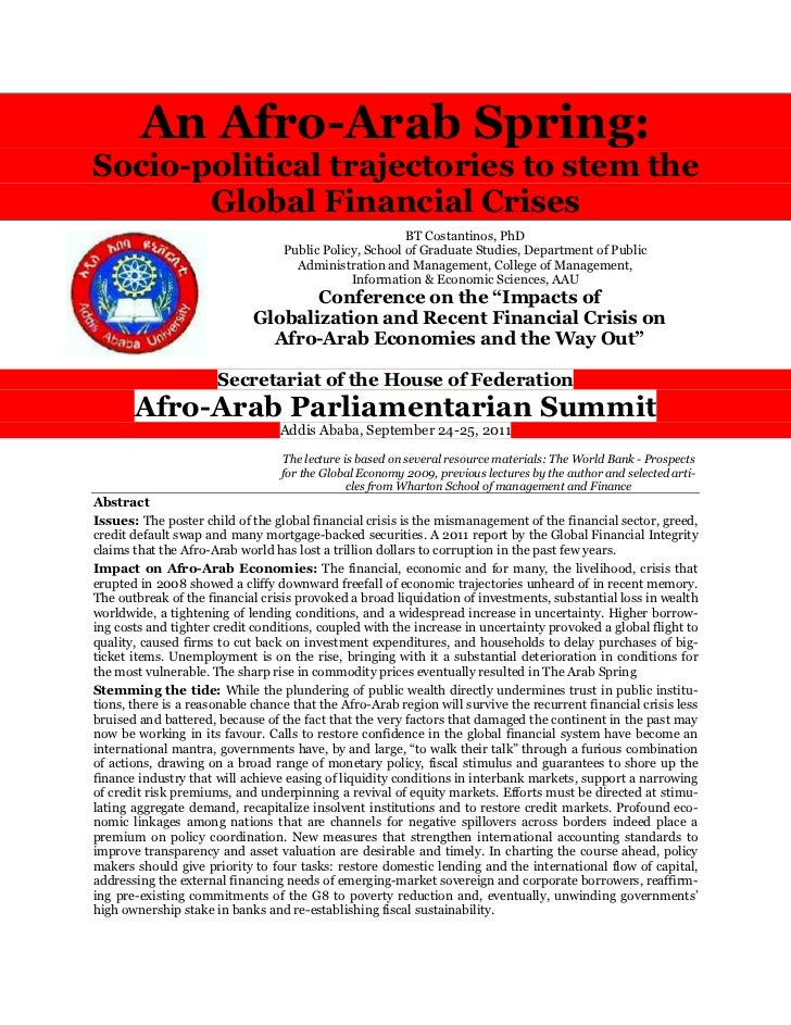 An Afro-Arab Spring:Socio-political trajectories to stem the       Global Financial Crises                                ...