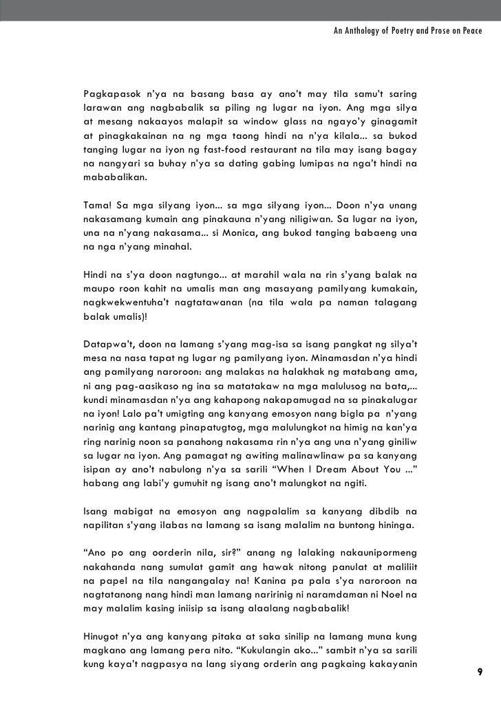 An Anthology of Poetry and Prose on PeacePagkapasok n'ya na basang basa ay ano't may tila samu't saringlarawan ang nagbaba...