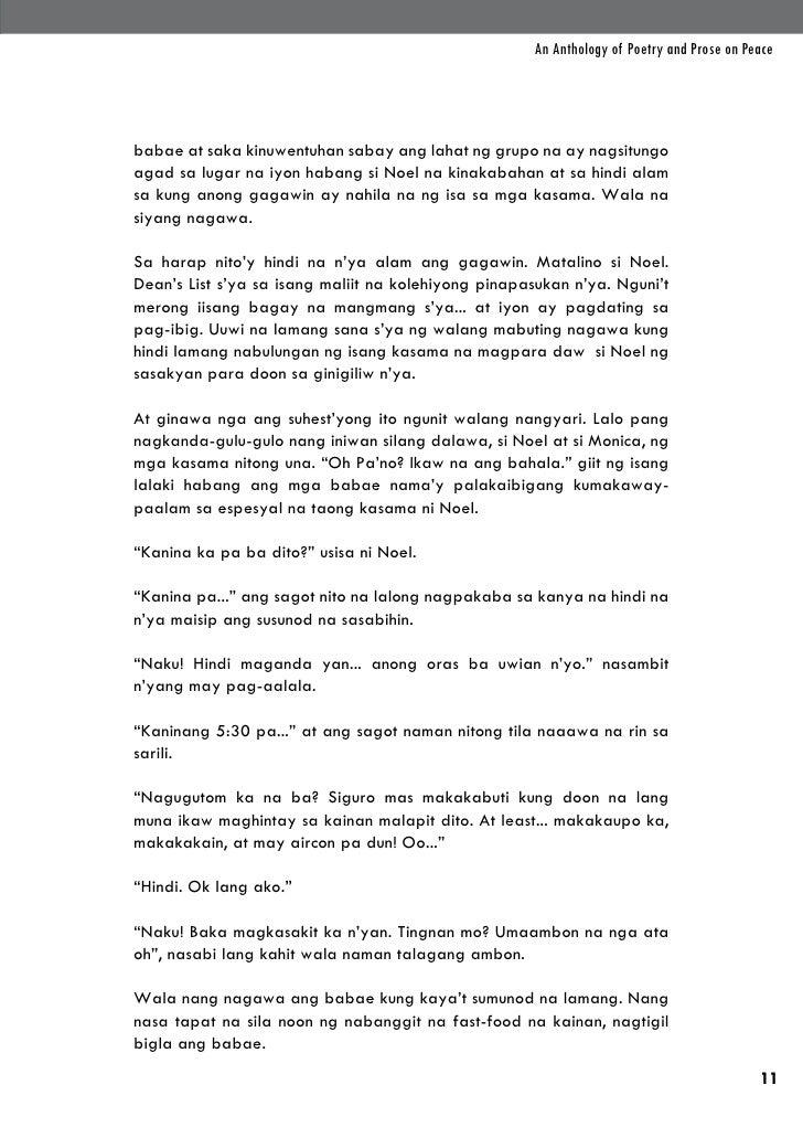 An Anthology of Poetry and Prose on Peacebabae at saka kinuwentuhan sabay ang lahat ng grupo na ay nagsitungoagad sa lugar...
