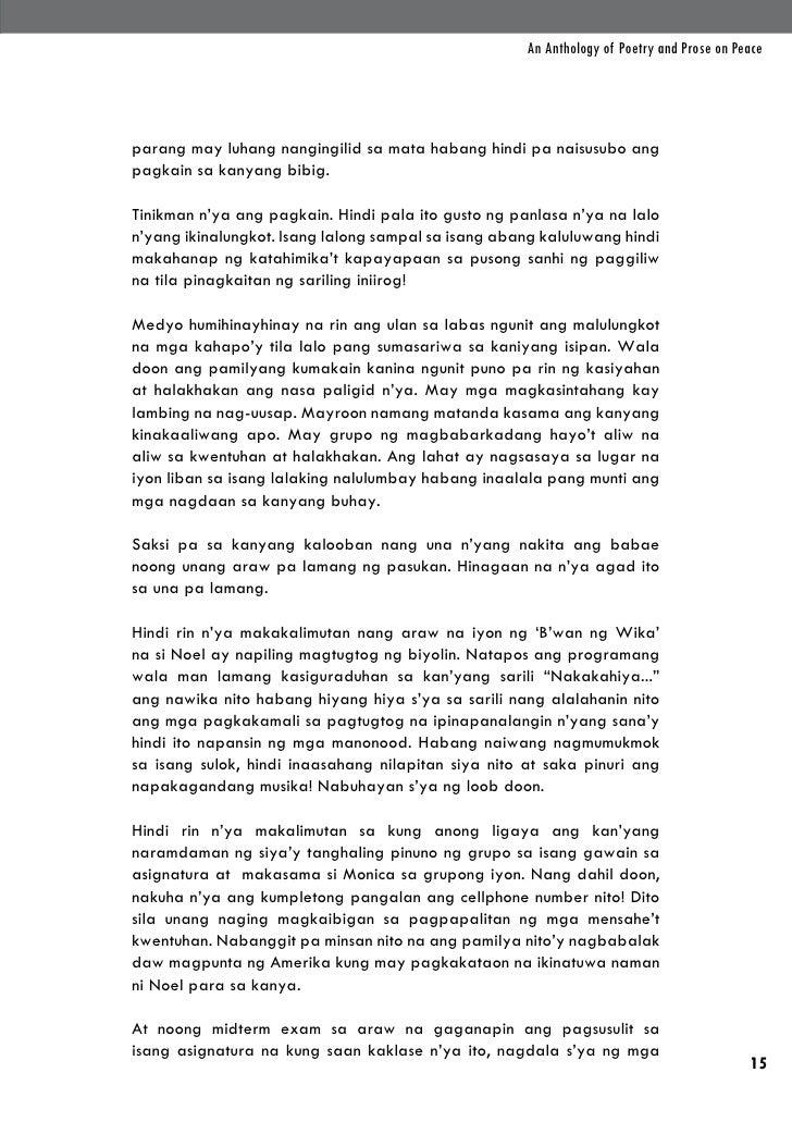 An Anthology of Poetry and Prose on Peaceparang may luhang nangingilid sa mata habang hindi pa naisusubo angpagkain sa kan...