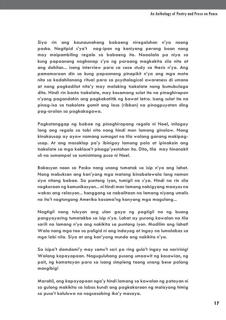An Anthology of Poetry and Prose on PeaceSiya rin ang kaunaunahang babaeng niregaluhan n'ya noongpasko. Nagtipid s'ya't na...