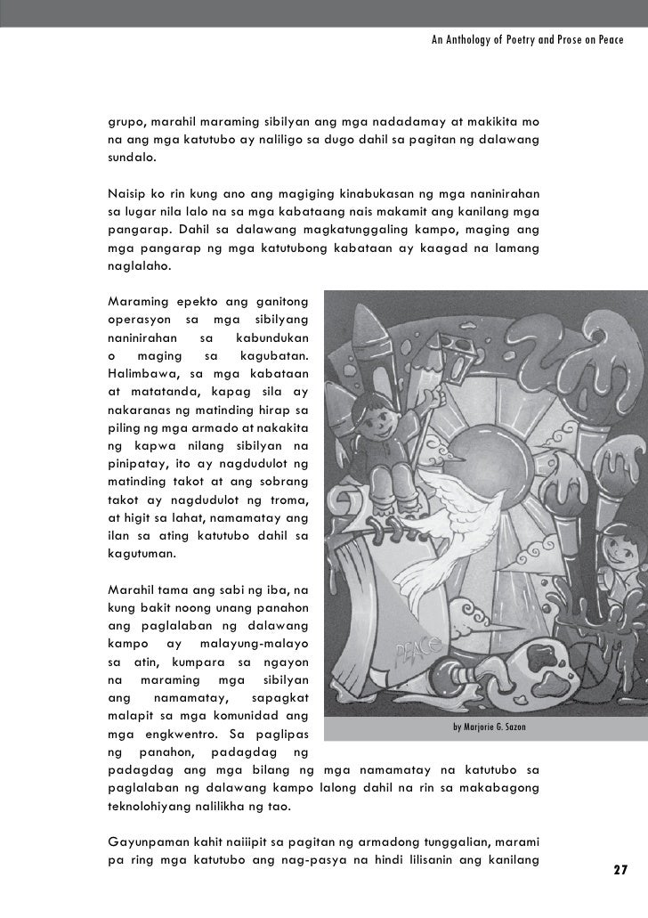An Anthology of Poetry and Prose on Peacegrupo, marahil maraming sibilyan ang mga nadadamay at makikita mona ang mga katut...