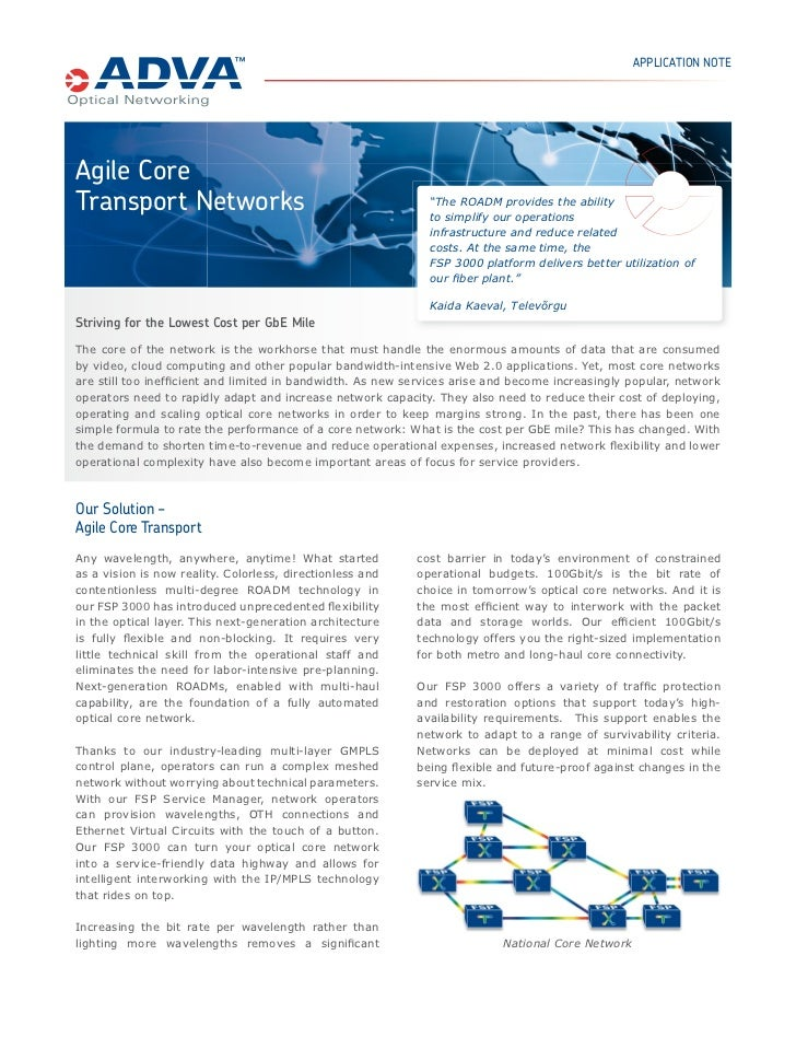 "APPLICATION NOTEAgile CoreTransport Networks                                            ""The ROADM provides the ability   ..."