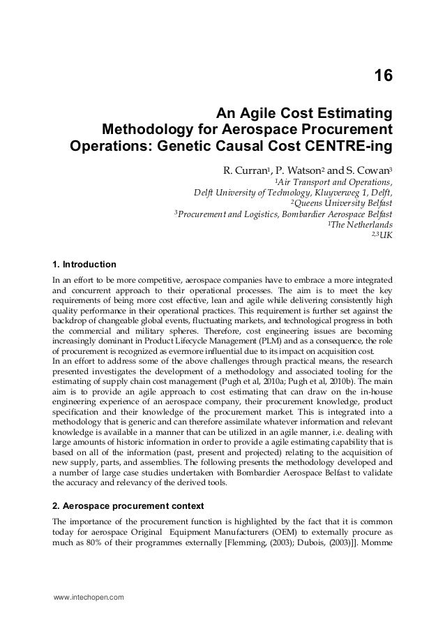 16An Agile Cost EstimatingMethodology for Aerospace ProcurementOperations: Genetic Causal Cost CENTRE-ingR. Curran1, P. Wa...