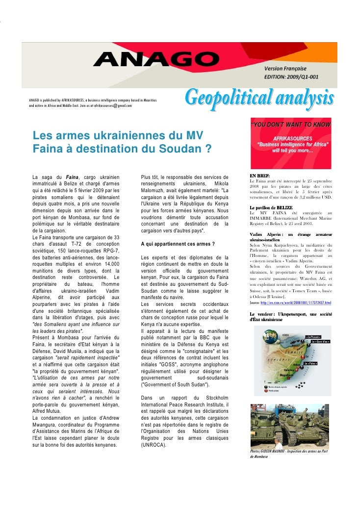 Geopolitical analysis ANAGO is published by AFRIKASOURCES, a business intelligence company based in Mauritius and active i...