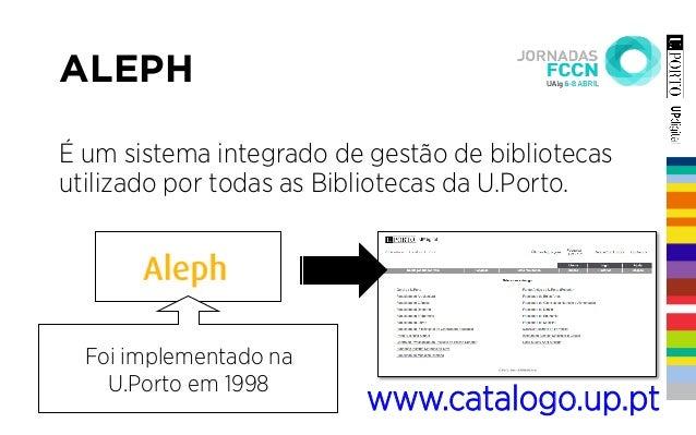 ALEPH É um sistema integrado de gestão de bibliotecas utilizado por todas as Bibliotecas da U.Porto. Foi implementado na U...