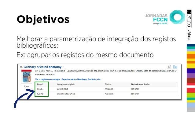 Melhorar a parametrização de integração dos registos bibliográficos: Ex: agrupar os registos do mesmo documento Objetivos