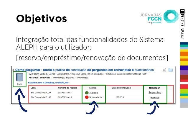 Integração total das funcionalidades do Sistema ALEPH para o utilizador: [reserva/empréstimo/renovação de documentos] Obje...