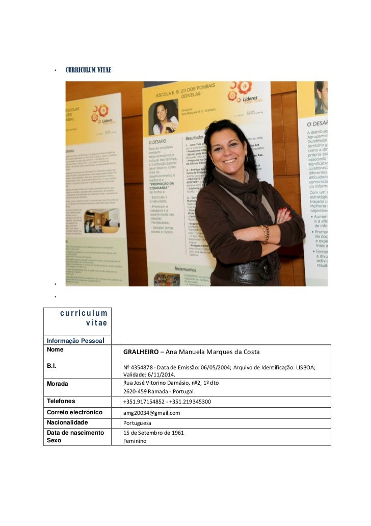 •    CURRICULUM VITAE   •   •       curriculum             vitaeInformação PessoalNome                       GRALHEIRO – A...