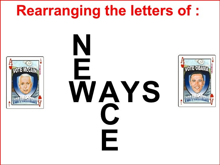 Y E S W E C N A Rearranging the letters of :