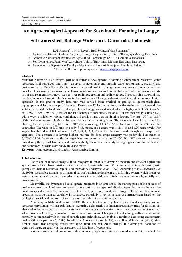 Journal of Environment and Earth Science www.iiste.orgISSN 2224-3216 (Paper) ISSN 2225-0948 (Online)Vol. 3, No.5, 20131An ...