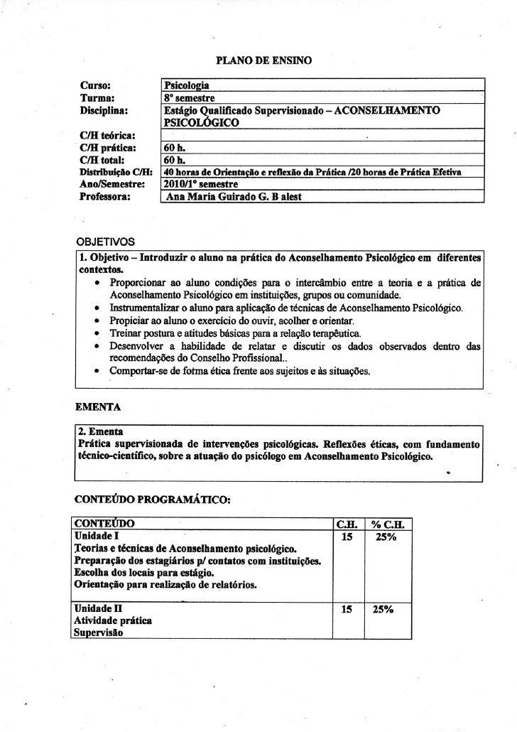 Ana Guirado - Plano de ensino