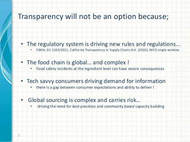 Consumer Goods Forum GFSI briefing on food chain transparency Slide 2