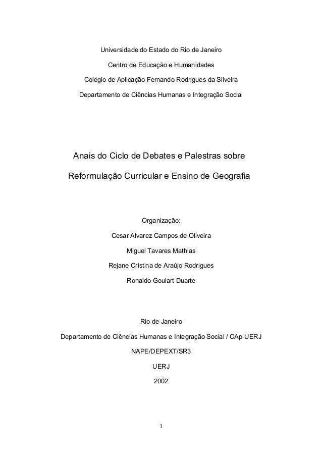 Universidade do Estado do Rio de Janeiro              Centro de Educação e Humanidades       Colégio de Aplicação Fernando...