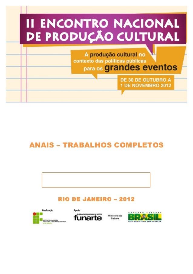 ANAIS – TRABALHOS COMPLETOS                               RIO DE ...