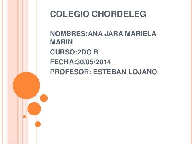 COLEGIO CHORDELEG NOMBRES:ANA JARA MARIELA MARIN CURSO:2DO B FECHA:30/05/2014 PROFESOR: ESTEBAN LOJANO